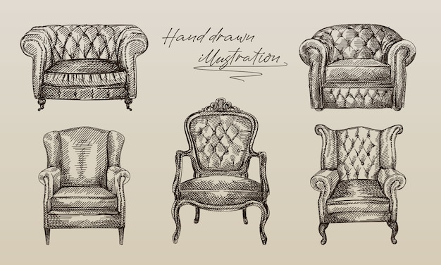Hand-drawn sketch of collection of 5 armchairs of antique period. chesterfield leather armchair with quilted and long backrest. armchair of the antique period. vintage armchair.