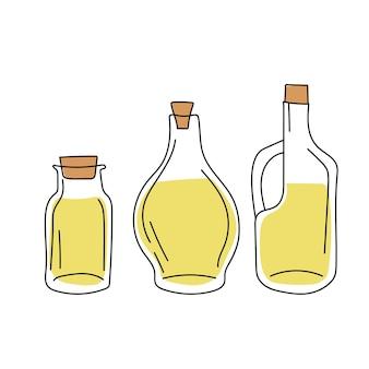 手描きのスケッチ-オリーブオイルのボトルのコレクション。デザイン要素