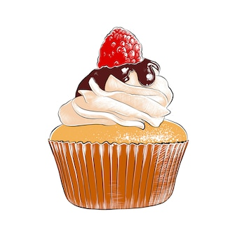 Hand drawn sketch of colorful cupcake