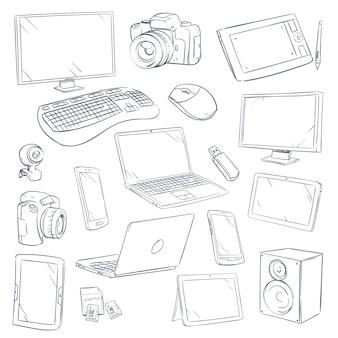 Hand drawn sketch computer technology gadgets set