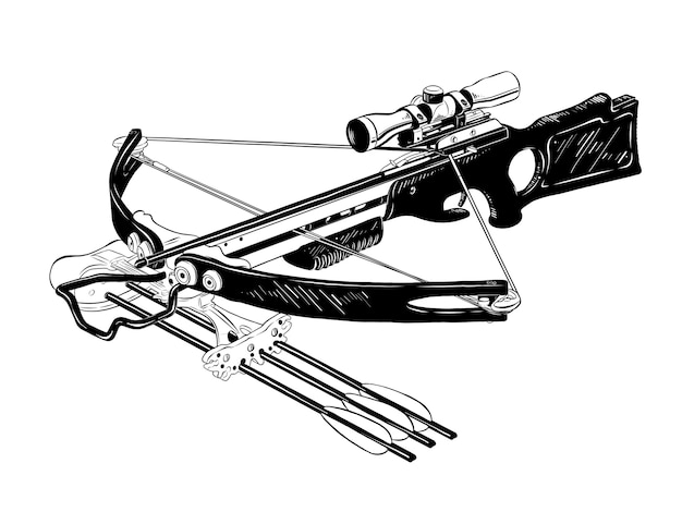 Hand drawn sketch of crossbow in black