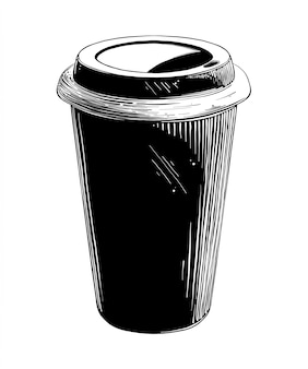 Hand drawn sketch of disposable cup in black isolated . detailed vintage style drawing.