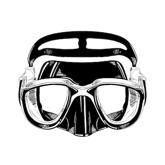Hand drawn sketch of diving mask in black