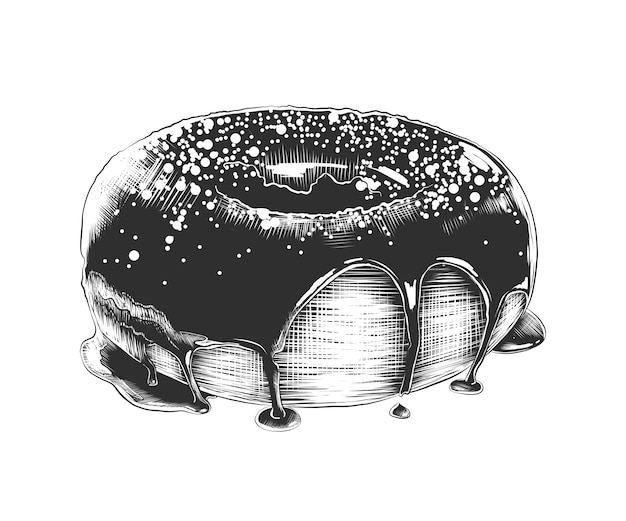 Hand drawn sketch of donut in monochrome