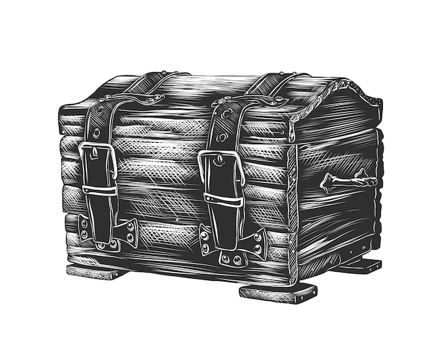 Hand drawn sketch of dower chest in monochrome