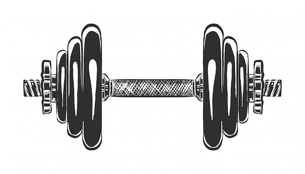 Hand drawn sketch of dumbbell in monochrome