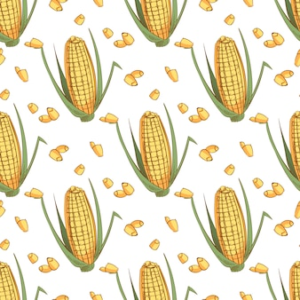 Hand drawn sketch ear of corn seamless pattern