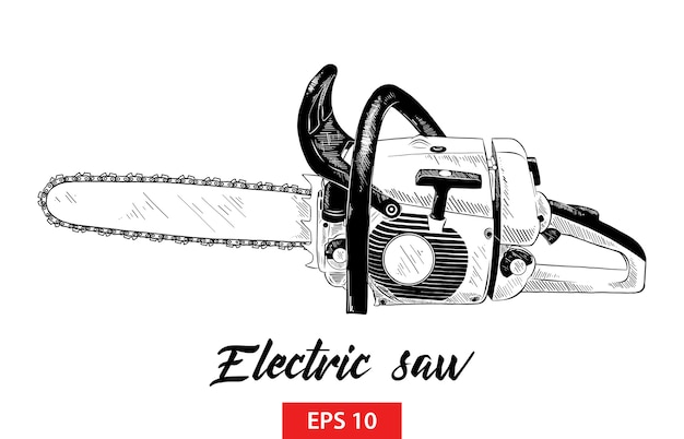 Hand drawn sketch of electric saw tool in black