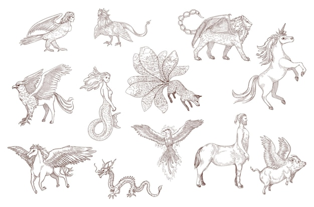 Hand drawn sketch of fantastic beasts from ancient myths. chinese dragon, pegasus, unicorn, griffin, harpy, mermaid, isolated on white engraved illustration