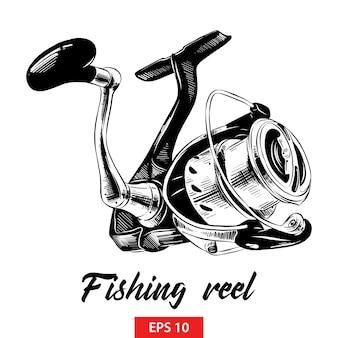 Hand drawn sketch of fishing reel in black
