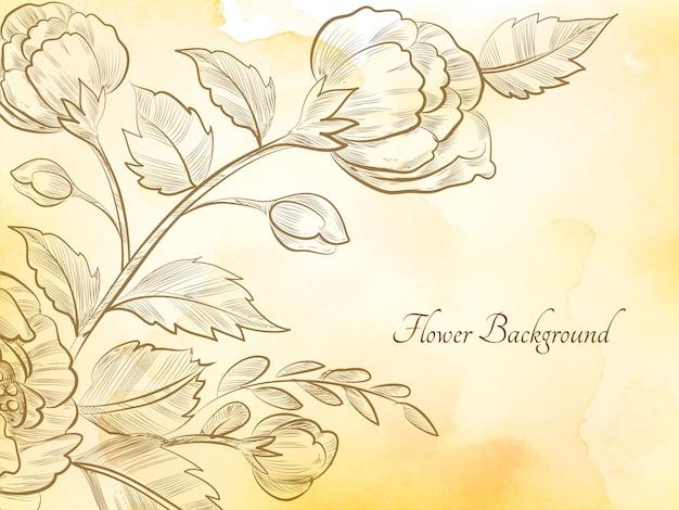 손으로 그린 스케치 꽃 부드러운 갈색 수채화