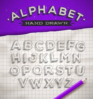 Hand drawn sketch font on a school squared notebook paper -  illustration