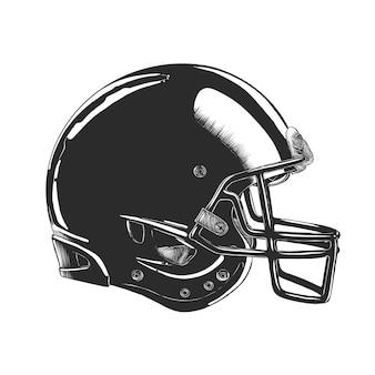 Hand drawn sketch of football helmet in monochrome