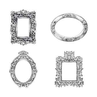Hand-drawn sketch of frames set for mirrors. decorative frames with patterns. round, square and elliptical mirrors. antique mirror frames