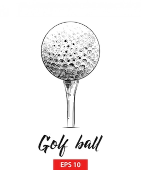 Hand drawn sketch of golf ball in black
