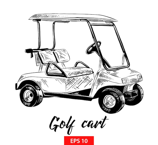 Hand drawn sketch of golf cart in black