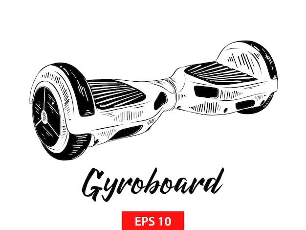 Hand drawn sketch of gyroboard in black