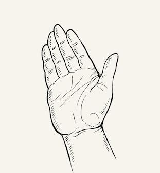 Hand drawn sketch of hand gesture