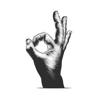Hand drawn sketch of hand ok sign in monochrome