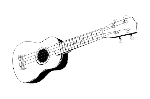 Hand drawn sketch of hawaiian ukulele guitar