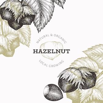손으로 그린 스케치 헤이즐넛 디자인 서식 파일입니다. 흰색 배경에 유기농 식품 그림입니다. 빈티지 너트 그림입니다. 새겨진 스타일 식물 배경.