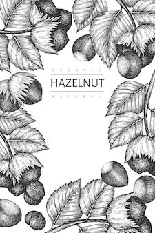 Нарисованный рукой шаблон дизайна лесного ореха эскиза. иллюстрация органических продуктов питания на белом фоне.