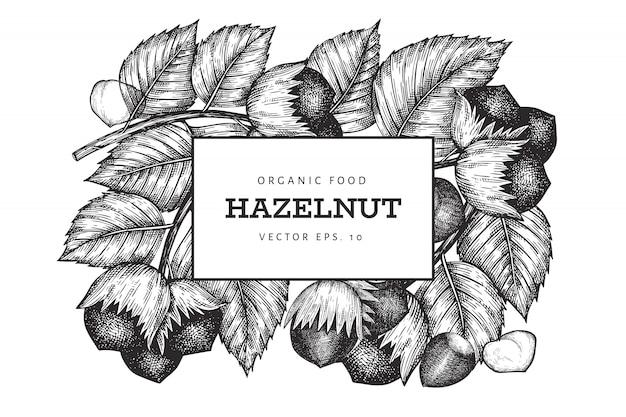 手描きスケッチヘーゼルナッツのデザインテンプレートです。白い背景の上の有機食品ベクトルイラスト。ビンテージナットの図。刻まれたスタイルの植物の背景。