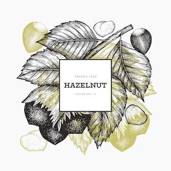 손으로 그린 스케치 헤이즐넛 디자인 서식 파일입니다. 유기농 식품. 빈티지 너트 그림입니다. 새겨진 스타일 식물 배경.