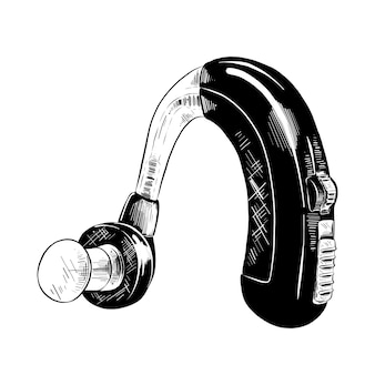 Hand drawn sketch of hearing aid in black