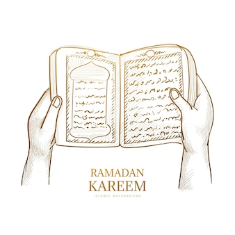Hand drawn sketch the holy book of the koran