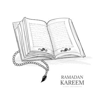 Schizzo disegnato a mano il libro sacro del corano