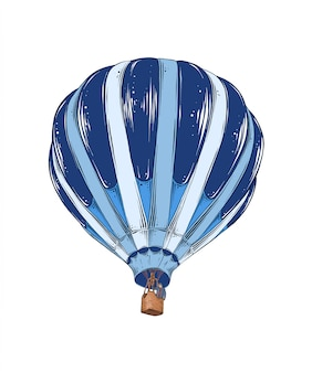 Hand drawn sketch of hot air balloon in color.