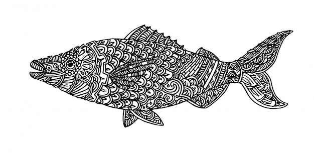 Hand drawn sketch illustration of fish in zentangle design elements