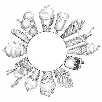 Hand drawn sketch illustration ice cream design