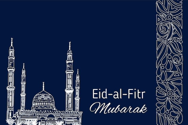 Hand drawn sketch of islamic mosque to festive banners of eid-al-fitr. vector illustration to muslim holidays.