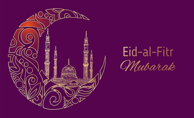 Hand drawn sketch of islamic mosque with ornamental crescent moon to festive banners of eid-al-fitr. vector illustration to muslim holidays.