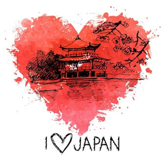 Hand drawn sketch japanese illustration with splash watercolor heart