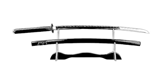 Hand drawn sketch of japanese katana sword