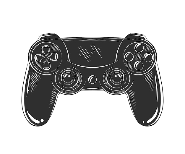 Hand drawn sketch of joystick in monochrome