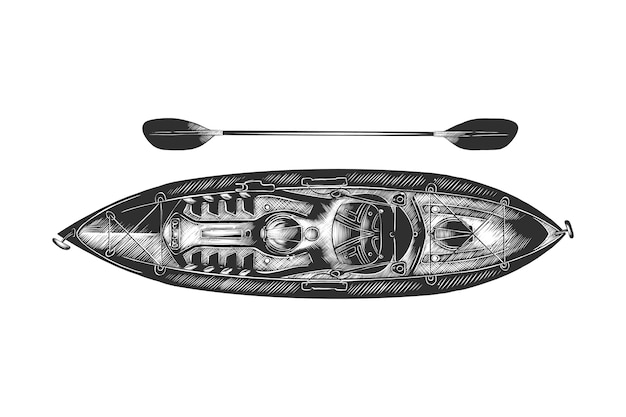 Hand drawn sketch of kayak in monochrome