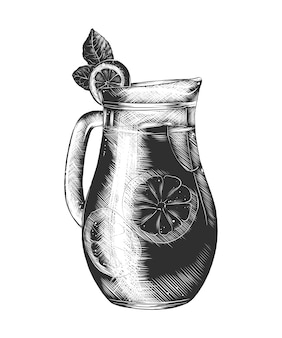 Hand drawn sketch of lemonade glass in monochrome