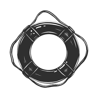 Hand drawn sketch of life buoy in monochrome