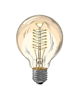 Hand drawn sketch of lightbulb in color isolated. detailed vintage style drawing. vector illustration