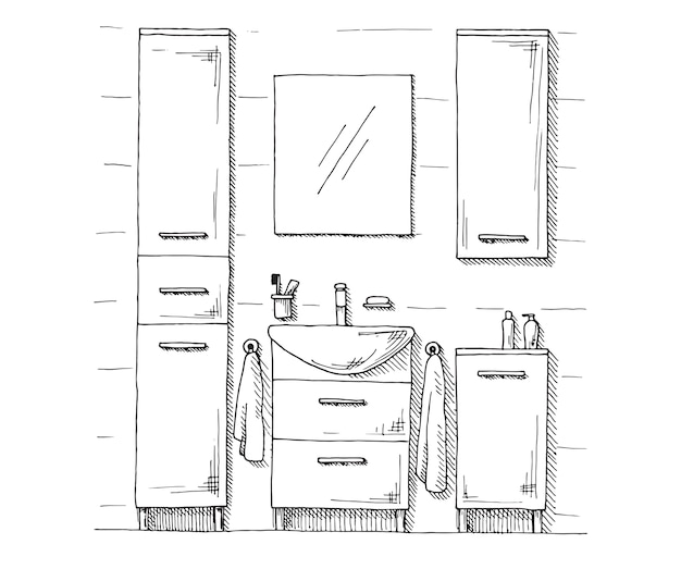 Hand drawn sketch. linear sketch of an interior. part of the bathroom.