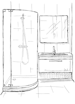 Ручной обращается эскиз. линейный эскиз интерьера. часть ванной. векторная иллюстрация