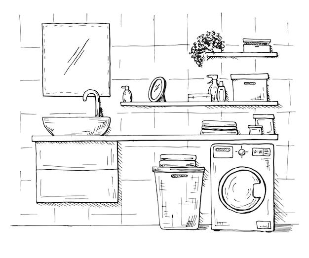 손으로 그린 된 스케치. 인테리어의 선형 스케치. 욕실의 일부입니다.