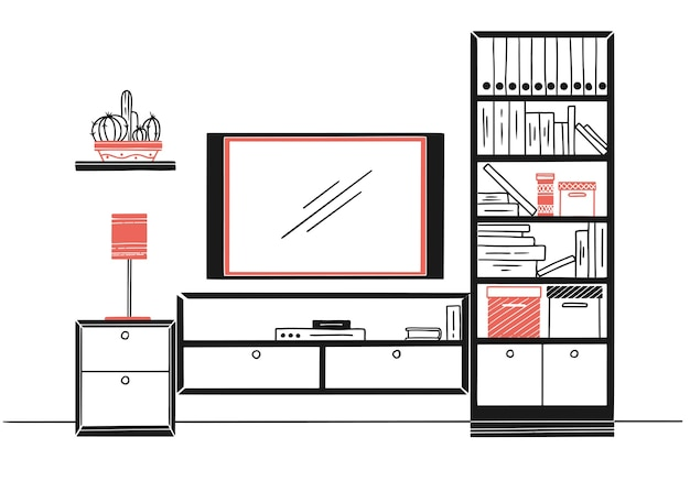 Ручной обращается эскиз. линейный эскиз интерьера. книжный шкаф, комод с тв и полками. иллюстрация