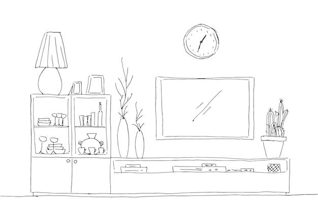 手描きのスケッチ。内部の線形スケッチ。本棚、テレビと棚付きのドレッサー。ベクトルイラスト