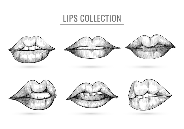 Hand drawn sketch lips collection design
