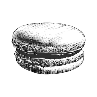 Hand drawn sketch of macaroon